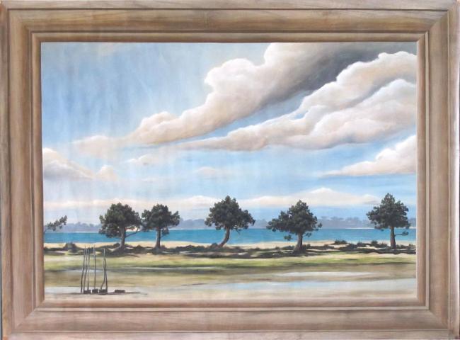 panoramique-bassin-d-arcachon avec imitation de cadre en bois mouluré